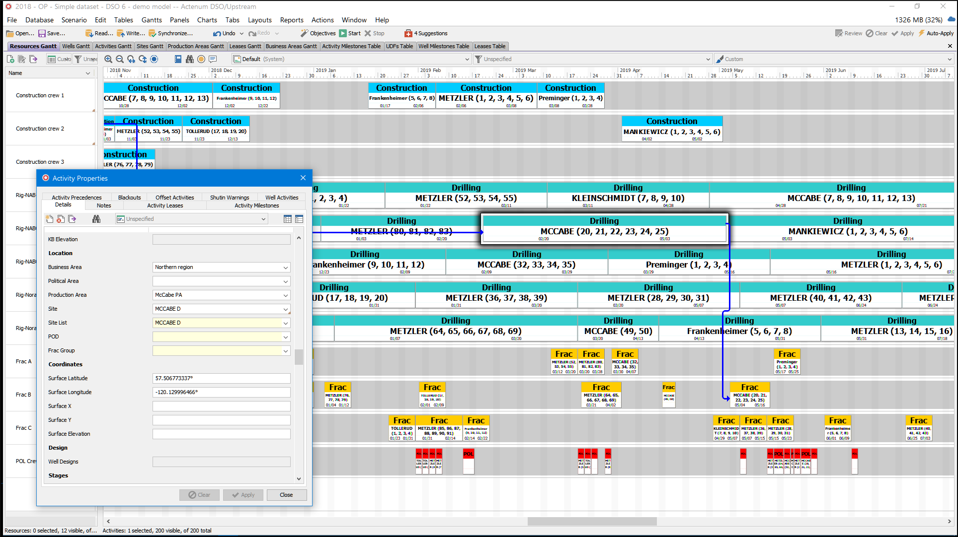 DSO/Upstream screenshot showing Gantt chart schedule view